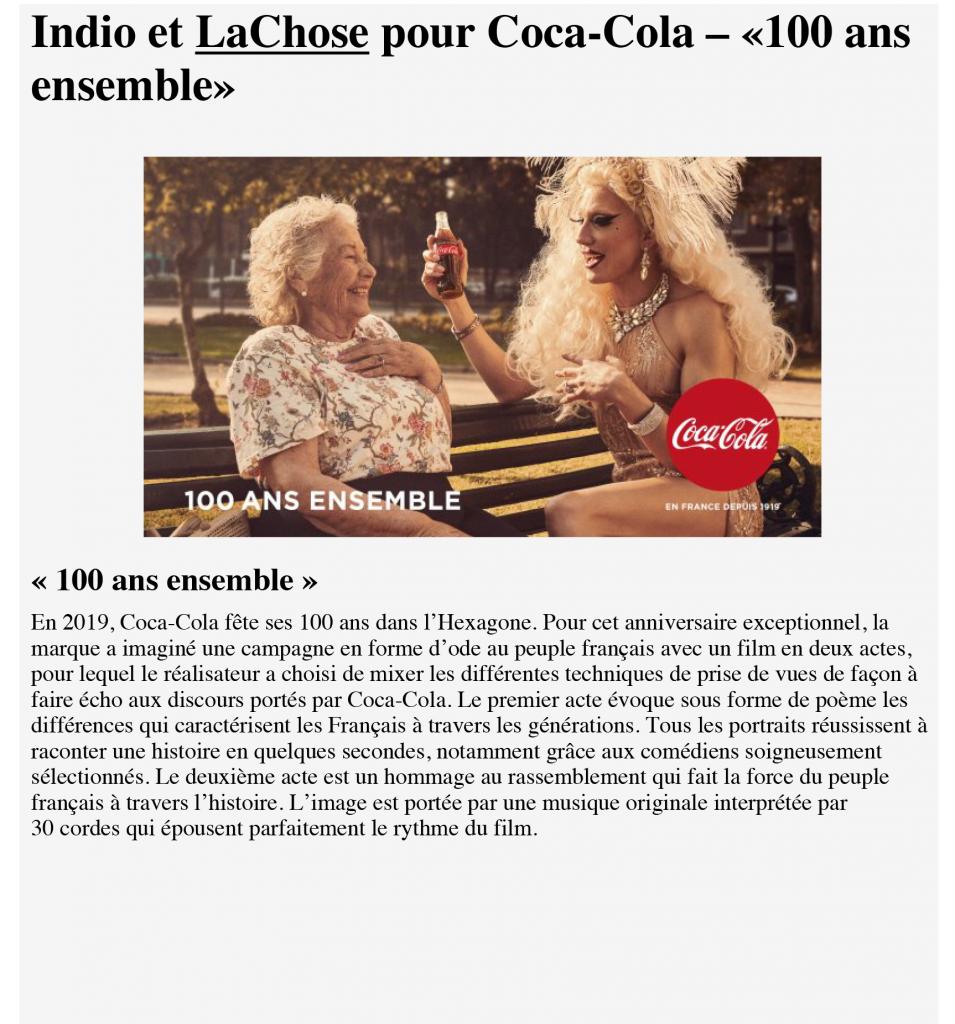 Stratégies_Indio et La Chose pour Coca-Cola – «100 ans ensemble»