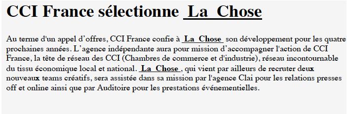Stratégies CCI